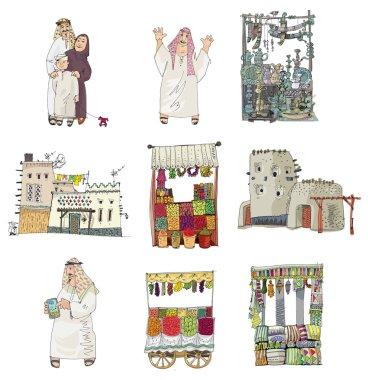 arabian linked set - cartoon