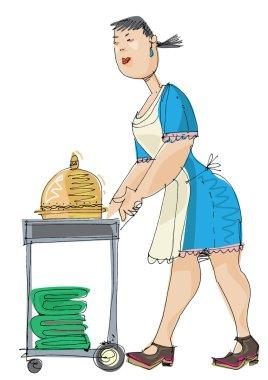 hotel maid - cartoon