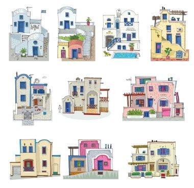 set of hotels on Santorini island