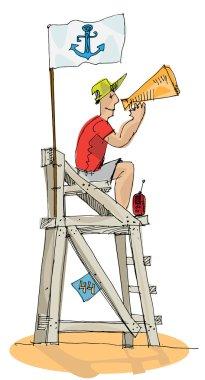 beach lifeguard - cartoon