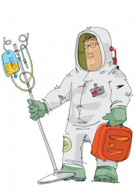 Doctor in protective suit with dropper
