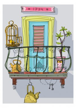 cute balcony - cartoon