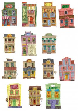 set of vintage american facades
