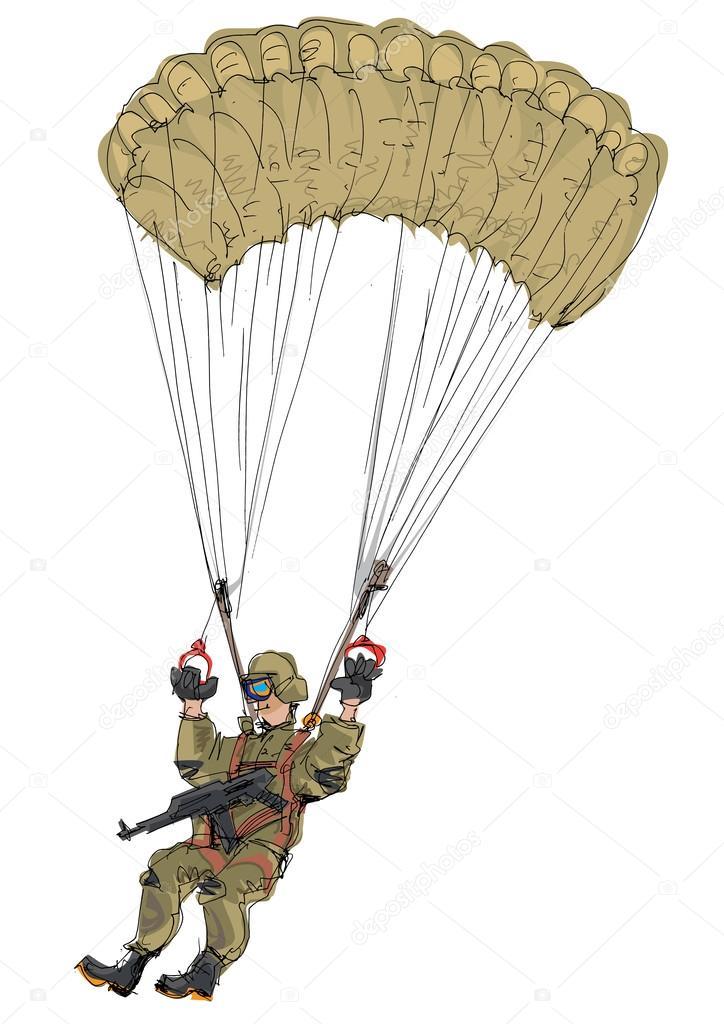Parachutiste militaire dessin anim image vectorielle - Dessin parachutiste ...