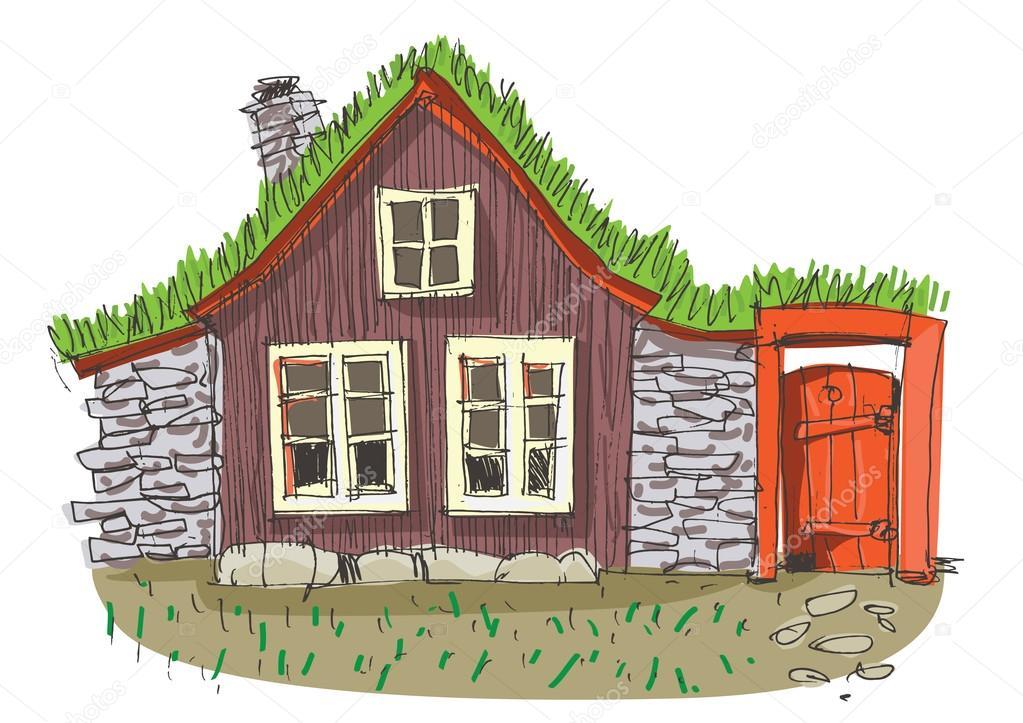 Casa con la hierba en el tejado archivo im genes - Dibujos de tejados ...