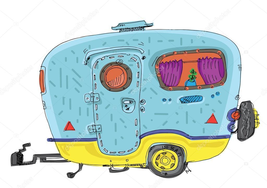 husvagn husbil tecknad stock vektor iralu1 88311084. Black Bedroom Furniture Sets. Home Design Ideas