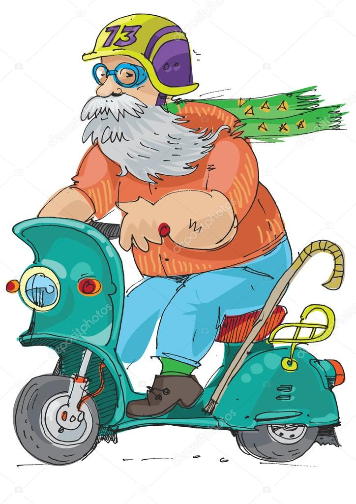 eldery person  riding on  scooter