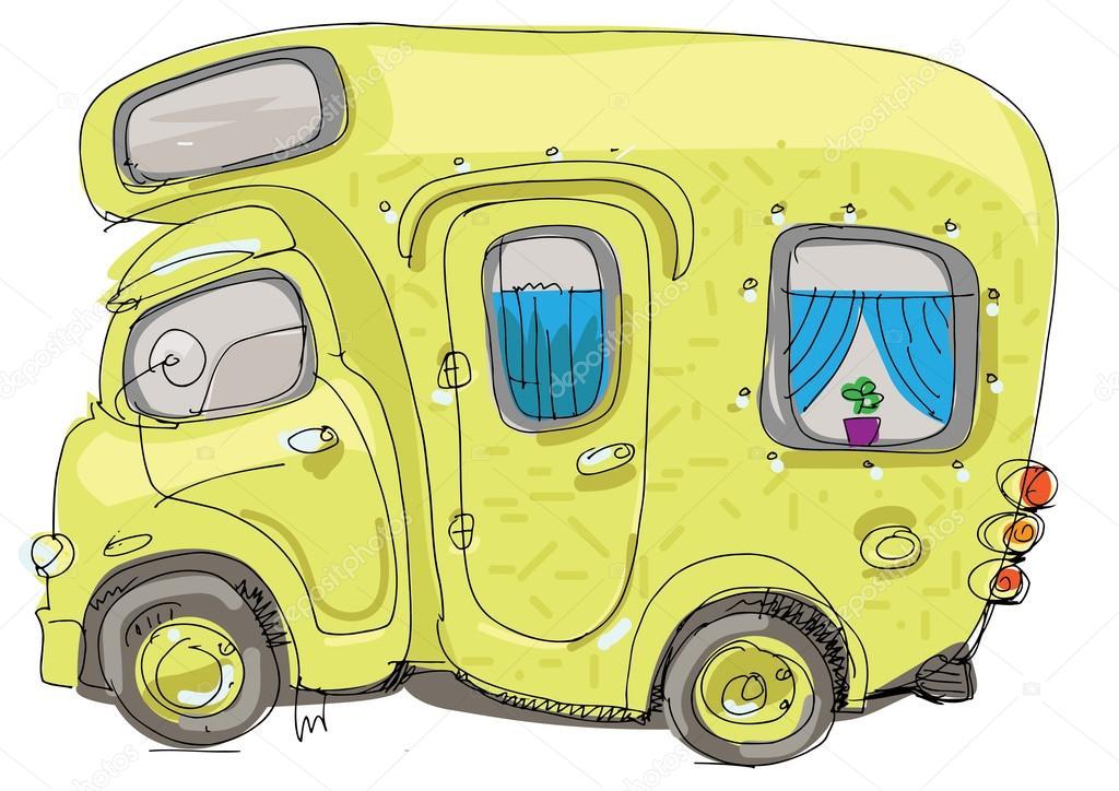 caravan  wohnmobil  cartoon  vektorgrafik lizenzfreie