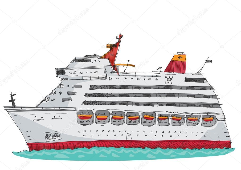 Navire De Croisière Dessin Animé Image Vectorielle