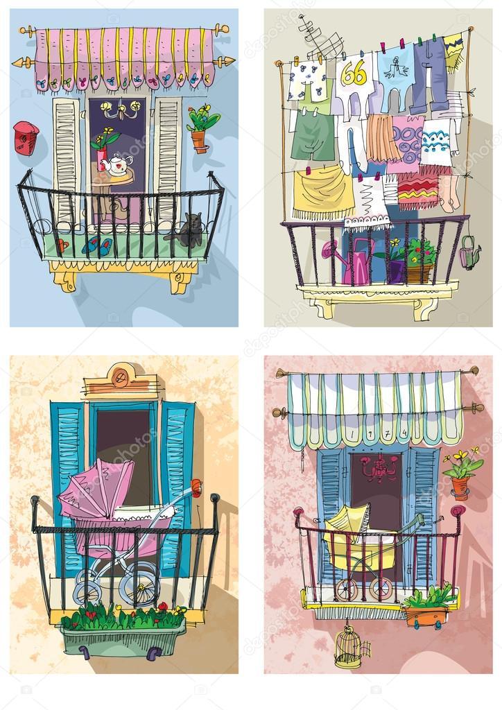 Cute balcony cartoon stock vector iralu1 88312414 for Balcony cartoon