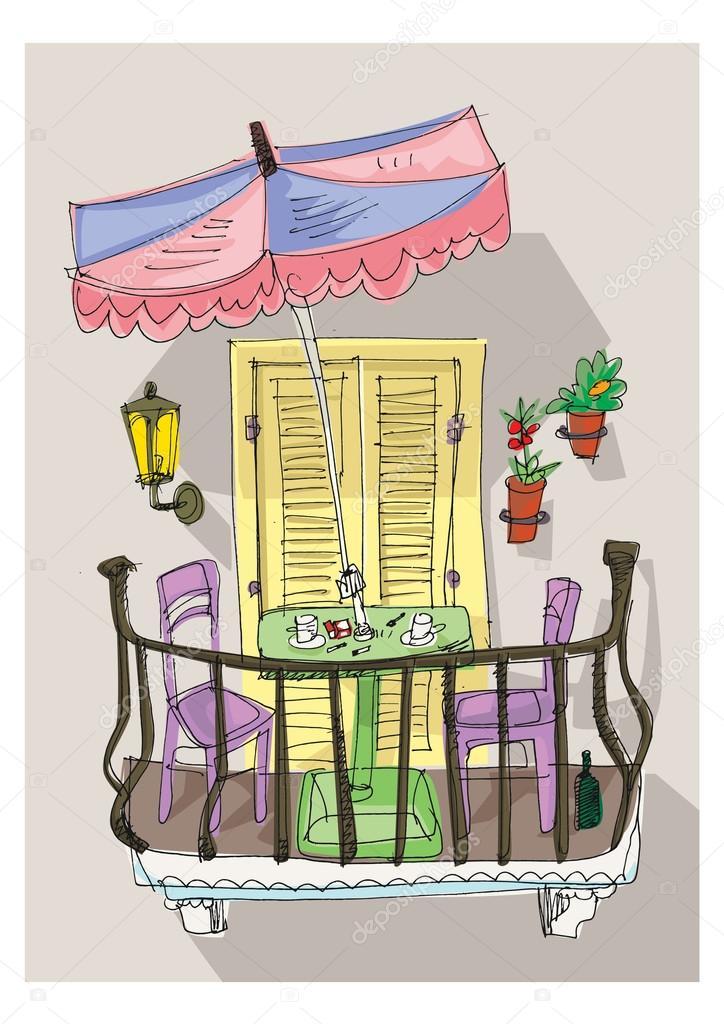 Cute balcony cartoon stock vector iralu1 88313956 for Balcony cartoon