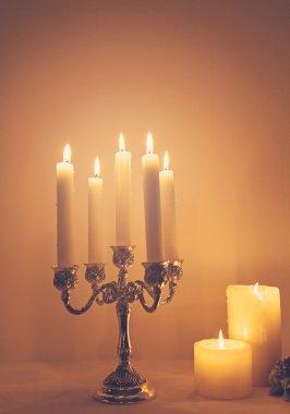 Candels in retro candelabra