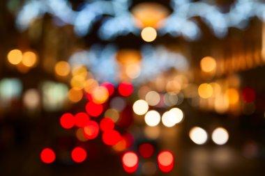 Defocused city night lights