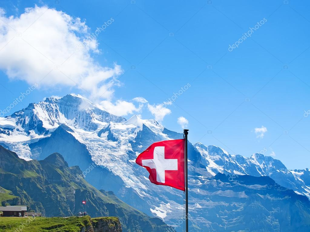 Swiss flag on the top of Mannlichen