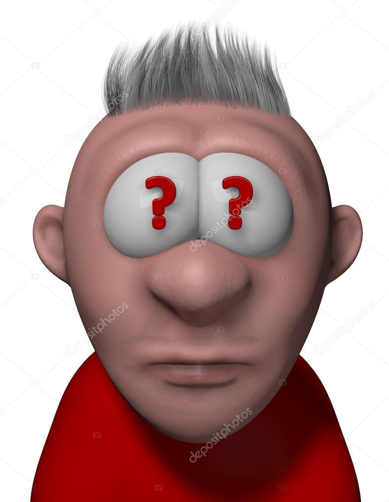 cartoon guy with question marks in eyes stock photo drizzd 94463824