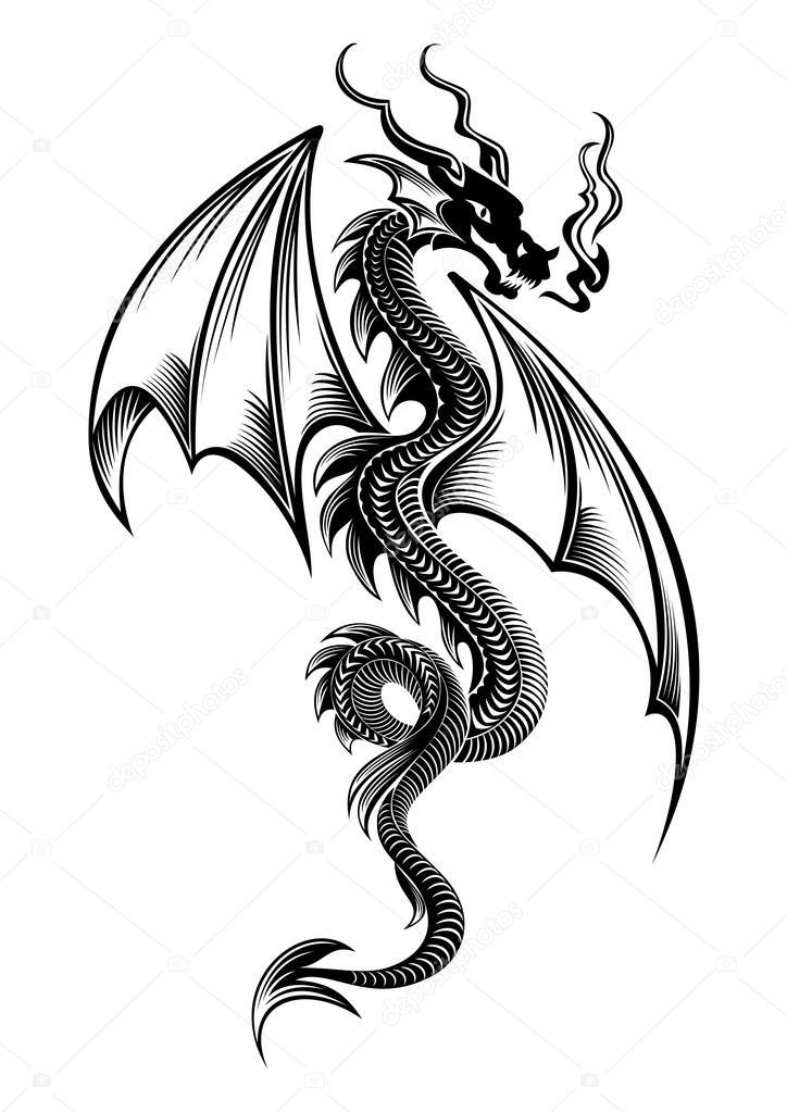 Black winged tribal dragon tattoo — Stock Vector ...
