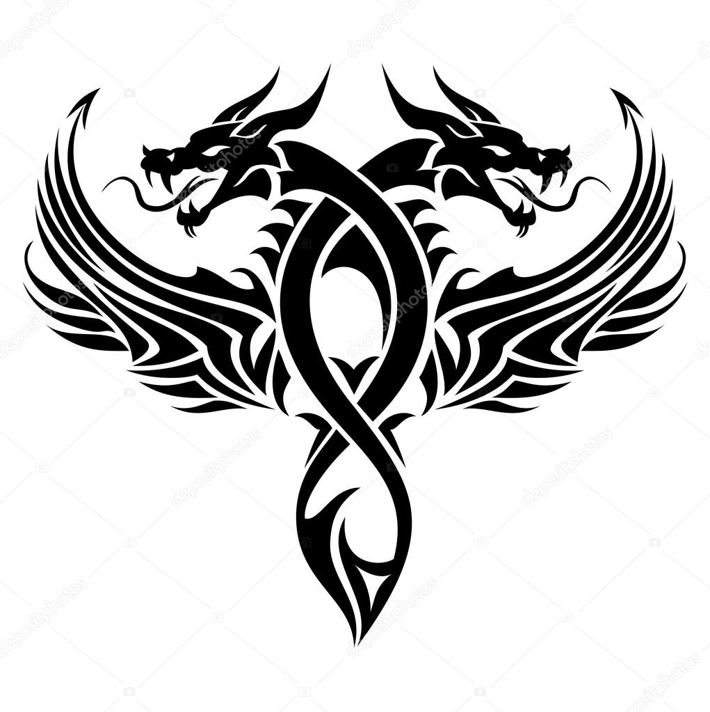tribal dragon tattoo stock vector surovtseva 121320582. Black Bedroom Furniture Sets. Home Design Ideas