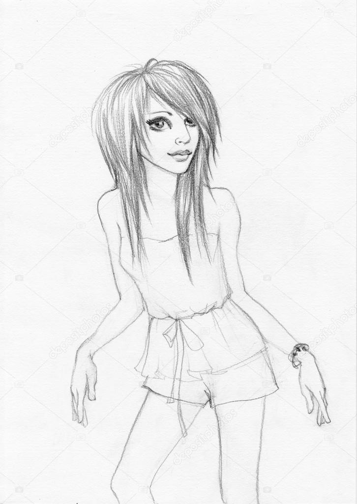 Imágenes Ilustraciones De Chica Emo Chica Emo De Pie Foto De