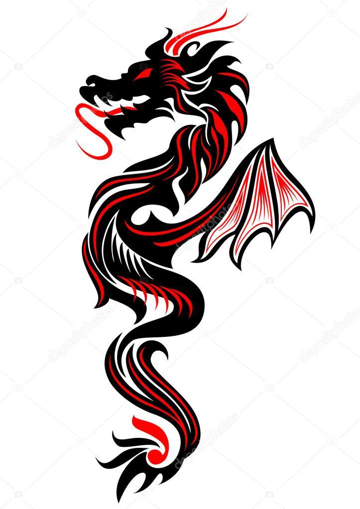 Dragon Tribal Tatouage tatouage tribal dragon — image vectorielle surovtseva © #84131372
