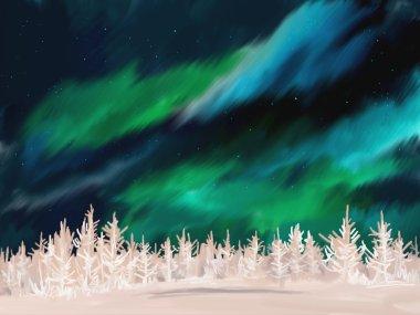 Aurora winter landscape