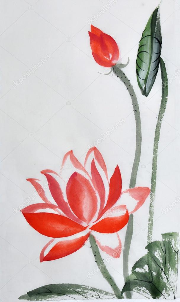 Red lotus flower watercolor painting stock photo surovtseva red lotus flower watercolor painting stock photo mightylinksfo