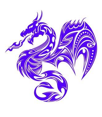 Indigo tribal dragon tattoo