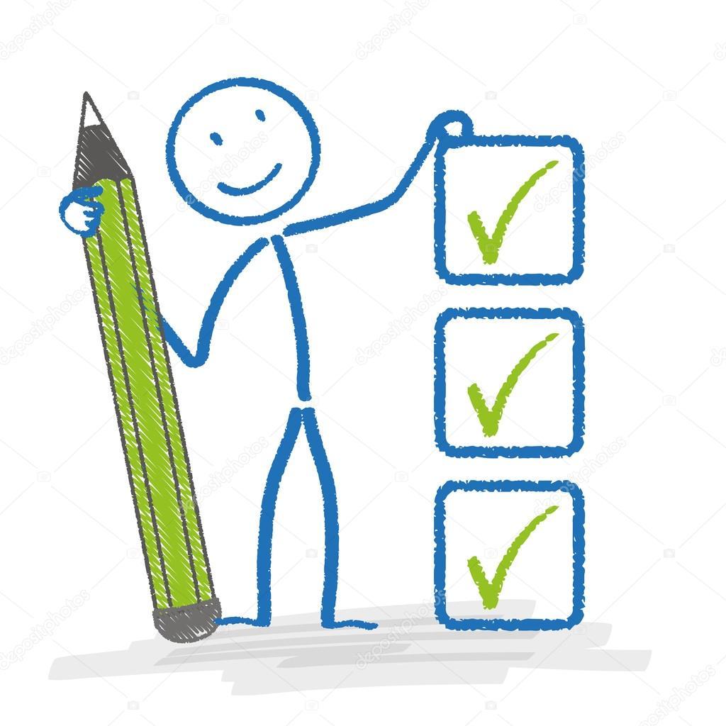 Stickman con bolígrafo y lista de verificación — Archivo Imágenes ...
