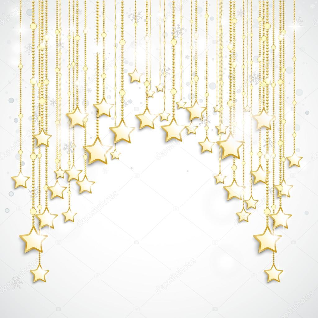 Cortina de estrellas de oro blanco nieve — Archivo Imágenes