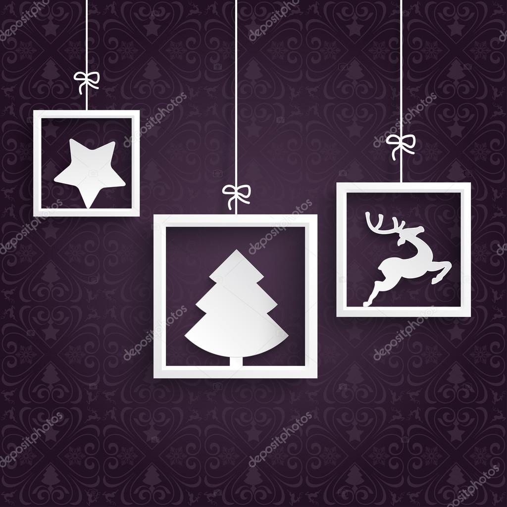 3 cuadros blancos los ornamentos de púrpura — Vector de stock ...