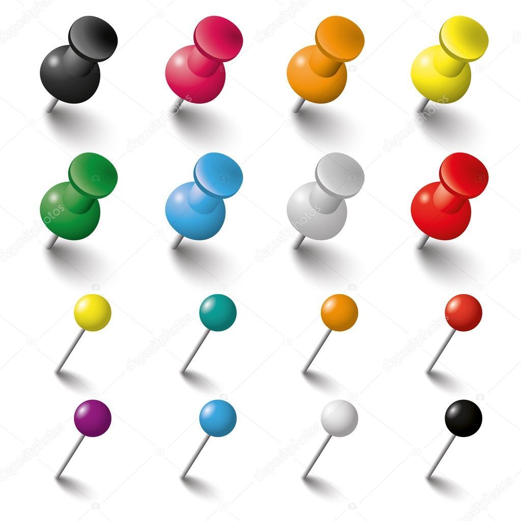 Set De Pines Y Tachuelas Color Vector De Stock