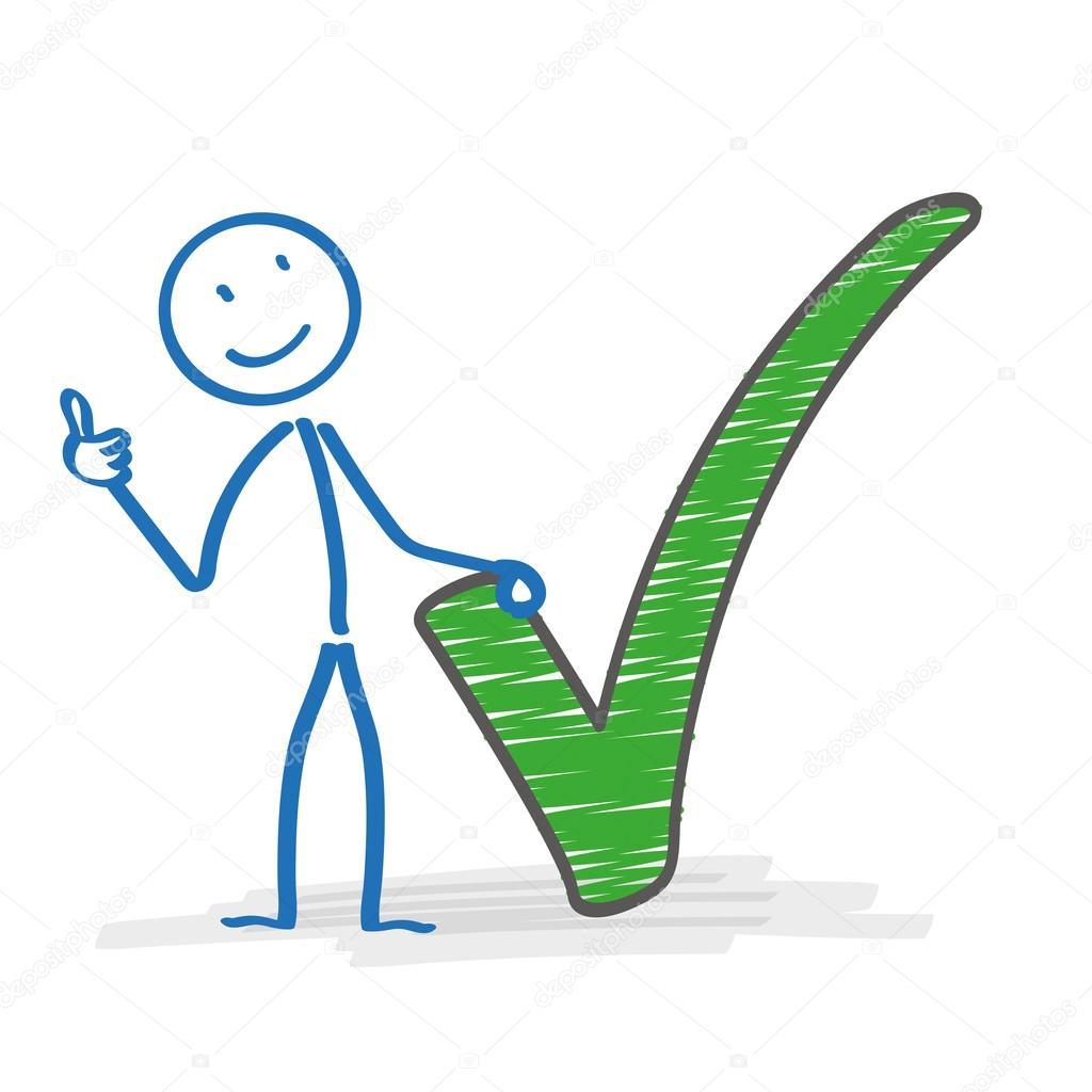 Stickman Con El Tick Verde Vector De Stock Limbi007 72586993