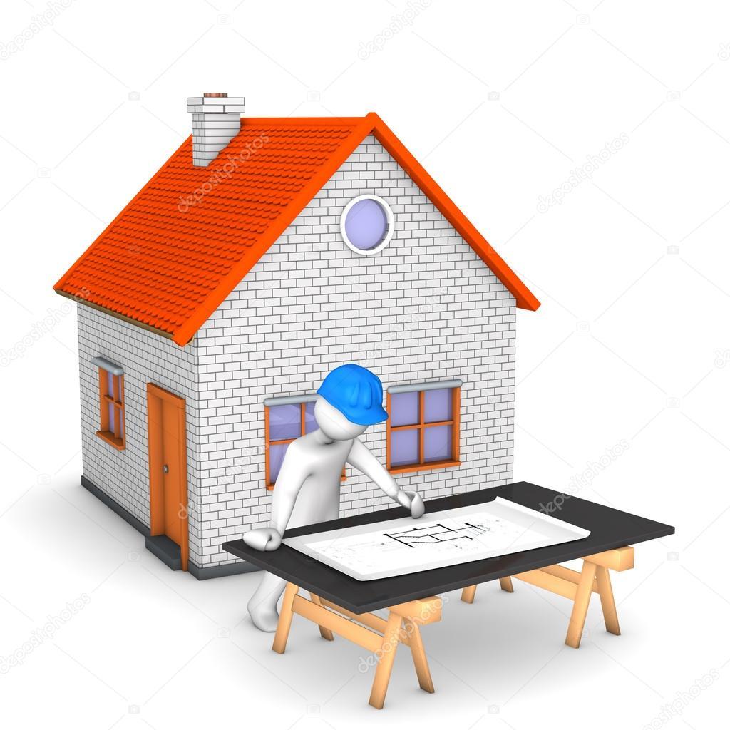 Personaje de dibujos animados con el plan de casa y - Construccion de casa ...
