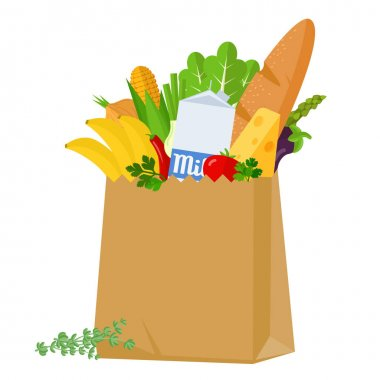 Fresh food in the grocery paper bag. Flat design vector illustration. Various food and beverages, grocery shopping. Fruits, vegetables, cheese, bread and milk icon