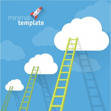Ladders to clouds. Vector minimalistic design