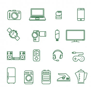 Home electronics  vector icon set