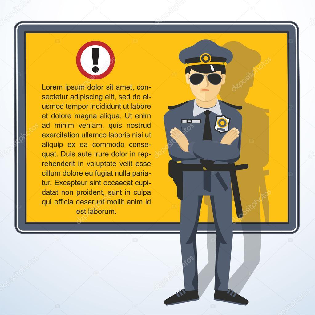 Marco con la policía — Vector de stock © mustahtar #62140119