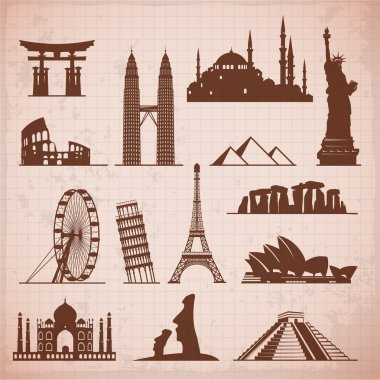 famous monuments and travel icons.