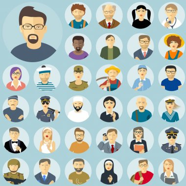 Human characters flat design icon set.