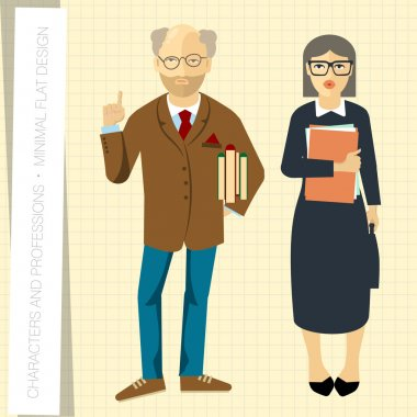 Professors couple in flat   style.