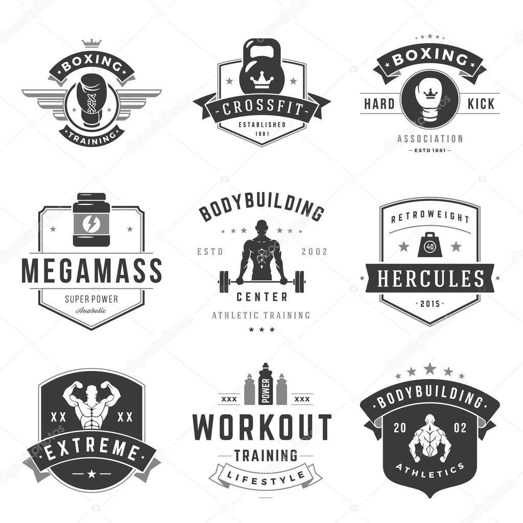 fitness logos templates set stock vector