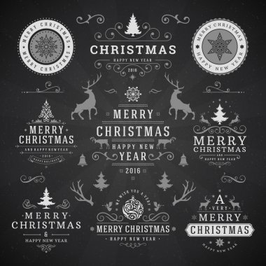 Merry Christmas And Happy New Year Wishes Typographic Labels and Badges