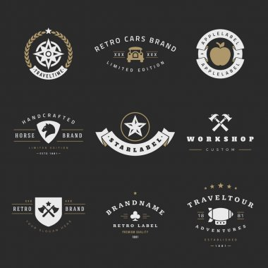 Retro Logotypes vector set. Vintage graphics design elements