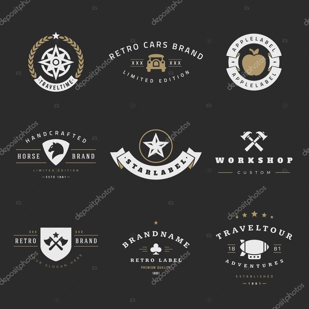 Retro Logotypes vector set. Vintage graphics design elements