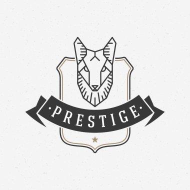 Vintage Fox face Line art logotype emblem symbol