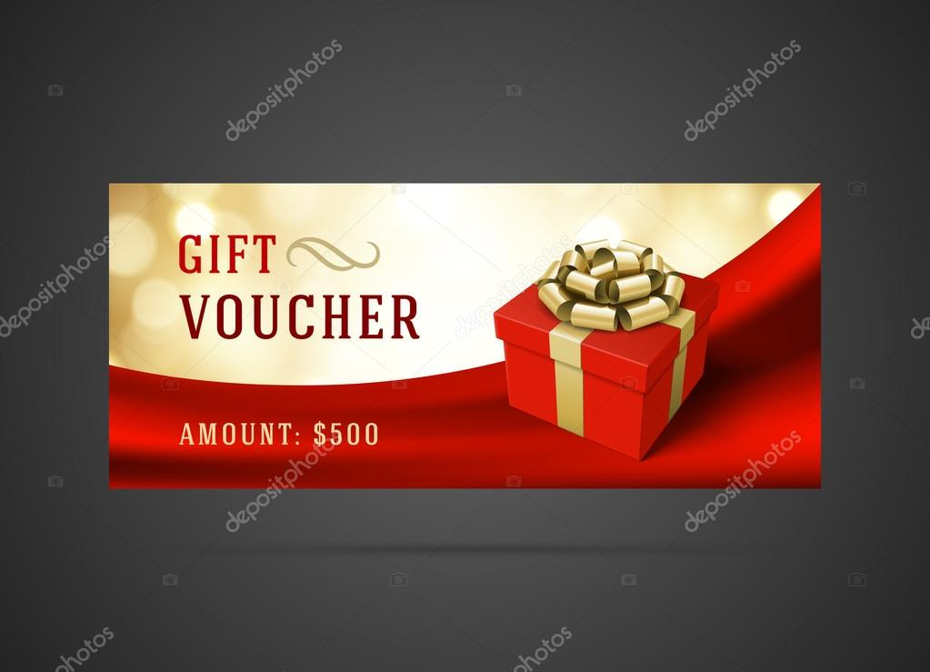 voucher template with gift box and bow vintage design ストック