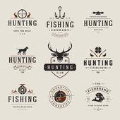 A vadászat és halászat, címkék, jelvények, logók Vector Design elemek Vintage stílusú készlet
