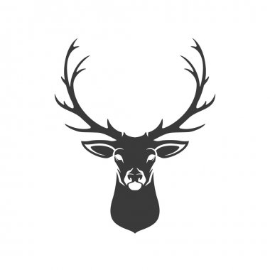 Deer Head Silhouette Isolated On White Background Vector object for Labels, Badges, Logos  and other Design stock vector