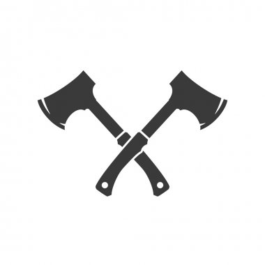 Lumberjack axes crossed FIsolated On White Background Vector object