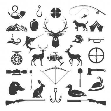 Set of Hunting and Fishing Objects Vector Design Elements Vintage Style