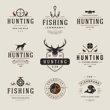 Set of Hunting and Fishing Labels, Badges, Logos Vector Design Elements Vintage Style